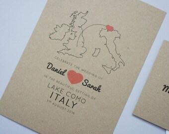 Minimalist Destination Wedding Abroad Invitation Set // Rustic Wedding