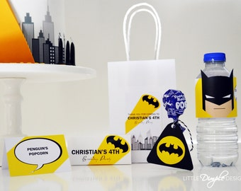 INSTANT DOWNLOAD - Batman Birthday Party Printables - Add your own text- Favor Tags, Bunting, Buffet Labels, Water Labels & more