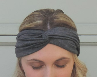 Twist Headband - Turban Headband - Solid Color - Twisted Knot Headband - Jersey Headwrap - Boho Headband - Bohemian Yoga Gear