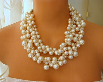 Ivory Pearl Necklace, Wedding Statement, crocheted jewelry, bridal