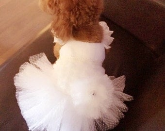 Custom Made Dog wedding dress made of Polka Dot tulle and Hand cut  flowers details