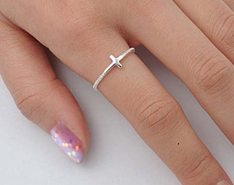 Celebrity Style Sideways Cross Ring with Twisted Rope Design - Sterling Silver or Yellow Gold - Rope Ring - Gold Cross Ring