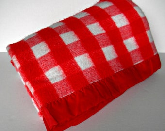 Vintage Red & White Plaid Check Blanket VALENTINE'S great gift for your guy