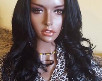 "16"" Virgin Brazilian U Part Wig Jet Black ROZA"