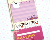 Kawaii Ghosts Sticky Notes - Post-it notes, sticky memo, cute halloween sticky notes, friendly ghost, trick or treat