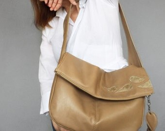 Beige leather hobo bag. Foldover beige bag. Leather slouchy shoulder purse.