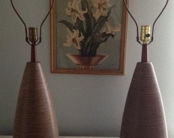 Exquisite Signed Martz Pair Large Incised Ceramic Mid-Century Lamps Marshall Studios