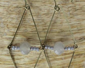 Antique Brass Geometric Crystal Earrings