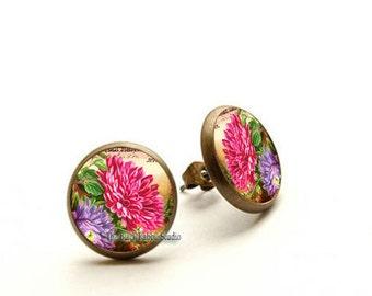 Flower earrings studs, purple and pink flowers earrings, Chrysanthemum earrings, Hypoallergenic Earrings