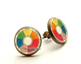 Retro artist earrings vintage French color wheel jewelry art teacher gift, Hypoallergenic Earrings for Sensitive Ears