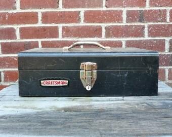 Rusty Metal Tool Box - Craftsman Crown Logo - Black Distressed Metal Toolbox - Industrial Organization- Removable Tray
