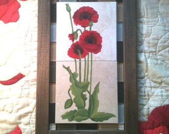 Hand Painted Tile Small Art Nouveau Red Poppy Art Tile Panel With Hand-Made Wood Art Noveau Style Frame