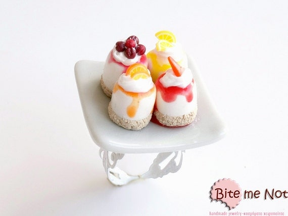 Mini Sweets Fruity Pastries Ring, Assorted Mini Gateaux, Miniature Food, Dessert Ring, Polymer Clay Sweets, Kawaii Jewelry, Foodie Gift