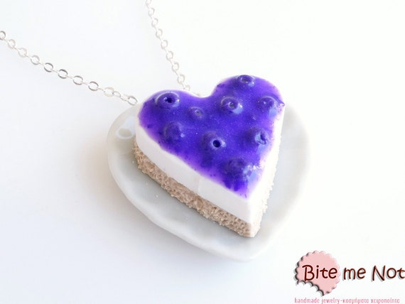 Mini Food Blueberry Cheesecake Necklace, Food Jewelry, Blueberries Jewelry, Forest Fruit, Blueberry Necklace, Cheesecake Jewelry, Berries
