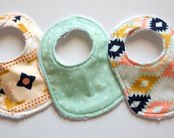 Baby Bibs - Set of Three - Aztec Collection