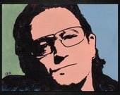 "BONO of U2 Pop Art Painting - New ORIGINAL, Acrylics, 8""X 6"". Nice for any U2/Bono fan! Vox. Band. Portrait. Joshua Tree. Paul Hewson. Edge"