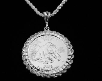 ALASKA GRIZZLY Silver Drop w Matching Sterling Rope Chain and Velvet Gift Box