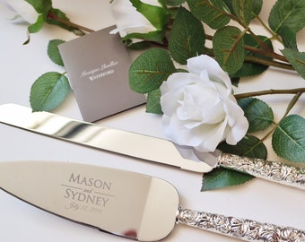 Personalized Monique Lhuillier Sunday Rose Cake Knife and Server Set - (2 pc) Custom Engraved Waterford Wedding Server Set - Wedding Gift