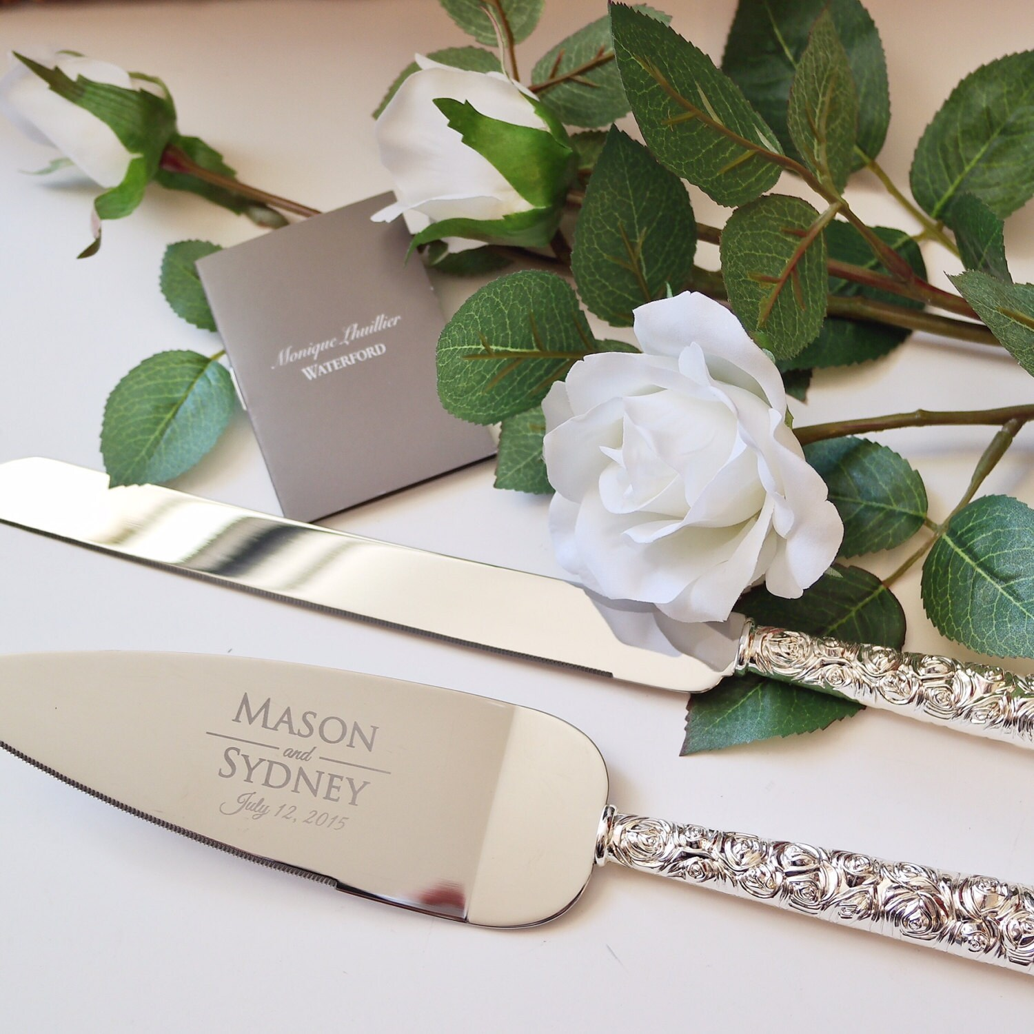 personalized monique lhuillier sunday rose cake knife and