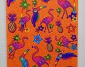 Vintage Lisa Frank Sticker Sheet S166 Flamingos Sand Background