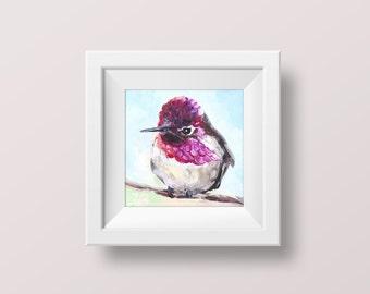 Hummingbird wall art Hummingbird print Bird art print Cheap wall art Fine art prints Pink bird wall decor Prints of paintings Small 4x4