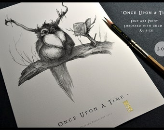 Once Upon a Time - A4 Fine Art Print - Signed and embossed with gold ink - Fantasy Art