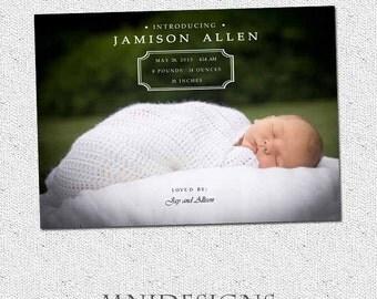 Simple Baby Announcement - Minimalist - PDF File - Photo Card - Gender Neutral
