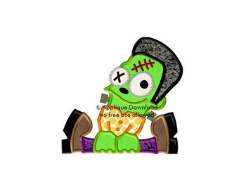 Franken Zombie Halloween Applique Design - Instant EMAIL With Download - for Embroidery Machines
