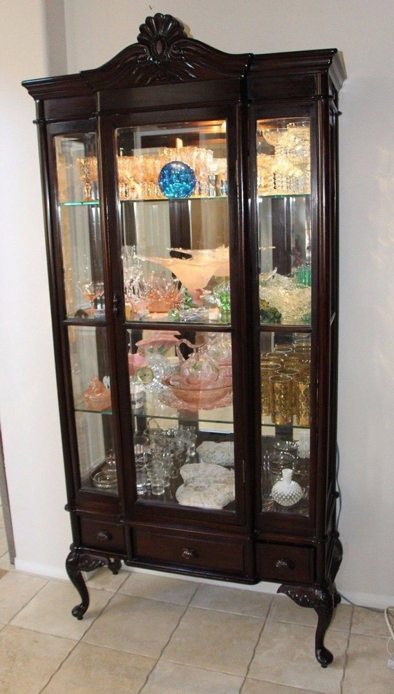 Antique Rare Queen Anne Display Curio China Cabinet Beveled