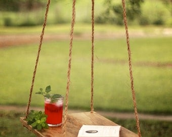 Hammock table – Outdoor hanging table – Rope hung end table – Backyard patio – Reclaimed barn wood – Rustic outdoor furniture – Country farm