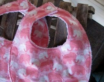 Baby Girl's Bib - Drooling Bib - Infant Bib - Early Feeding Bib - Pink Elephant Bib