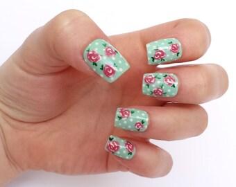 False nails - Pink and blue, rose and polka dot press on nails, vintage fake nails
