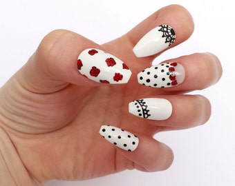 Polka dot rose coffin shaped false nails, lace fake nails, white press on nails, rose design glue on nails