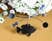 Black laser cut fish necklace black beaded wire choker fish charm pendant fish jewelry