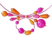 Pink and orange beaded necklace orange pink beaded wire choker tuti fruti necklace bridesmaid necklace
