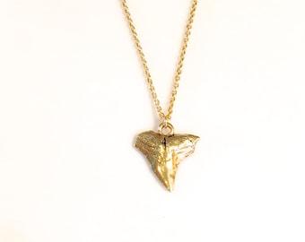 Gold Shark Tooth Necklace, Bohemian Shark Tooth Necklace, Hippie Necklace, Statement Necklace