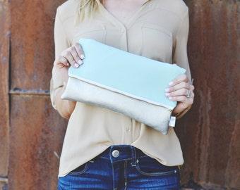 Mint Clutch, Leather Evening Bag, Mint Foldover Clutch Purse, Pastel Fold Over Clutch, Foldover Purse, Metallic Clutch, Gold Leather Clutch