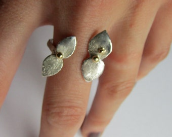 Flower Ring, Adjustable Flower Ring, Silver and Gold Flower Ring, Flower Stacking Ring