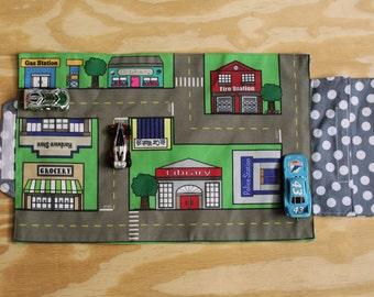 Car Play Mat, Cityscape, City, toy car mat, car playmat, city play mat, indoor pretend play, travel toys, preschool toys, toddler toys