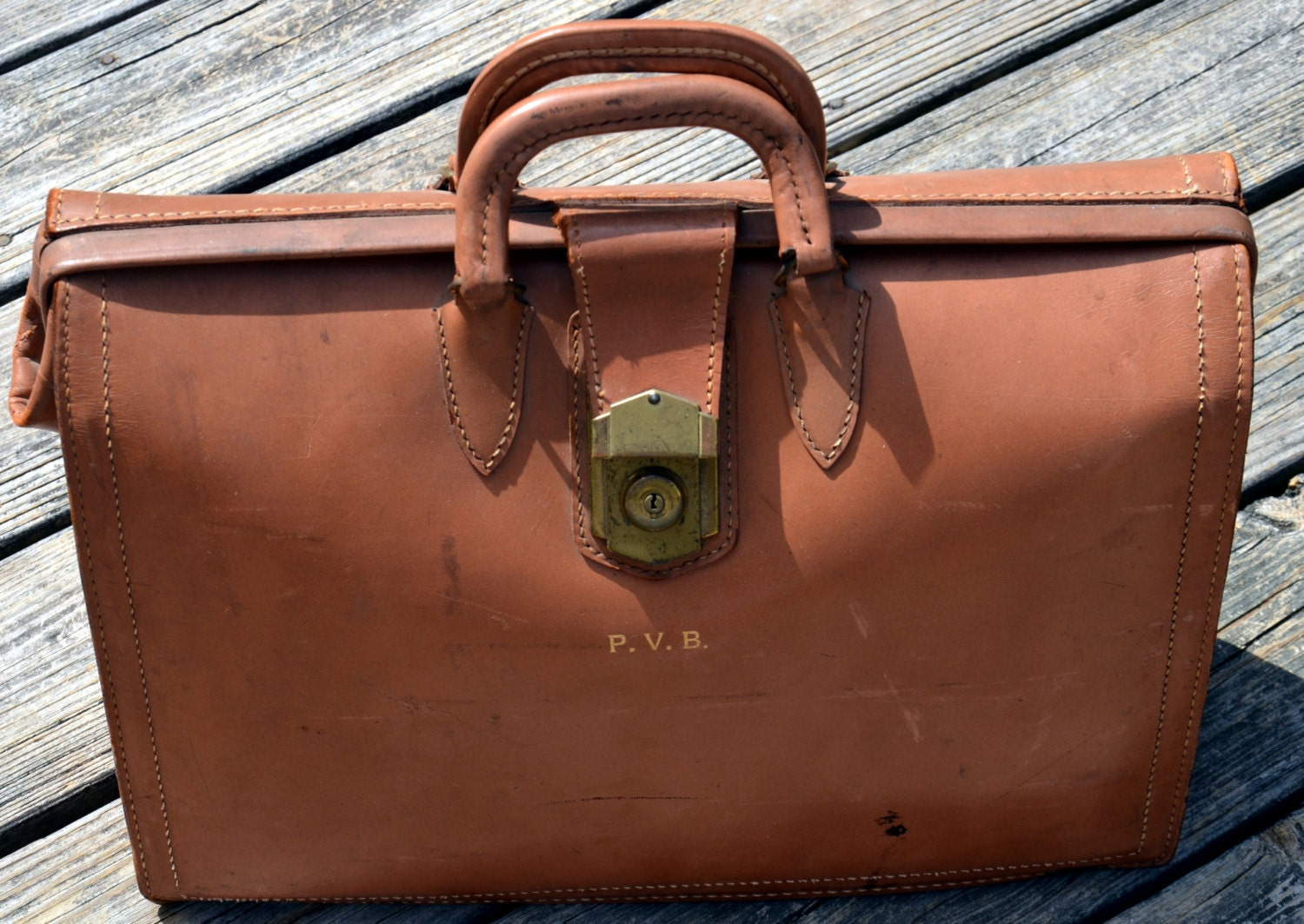leather cowhide doctor or lawyer bag vintage by