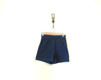 Vintage Dark Denim Shorts / High Waisted Denim Hot Pants