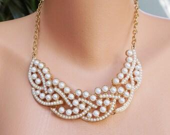 White pearl statement necklace, white bib necklace, bridal bridesmaid necklace