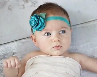 Teal Rose Headband, Teal Baby Headband, Teal Rosette Headband, Newborn Photo Prop, Baby Shower Gift, Newborn Headband, Adult Headband, Small
