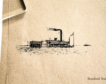Steamboat River Boat Rubber Stamp - 2 x 2 inches