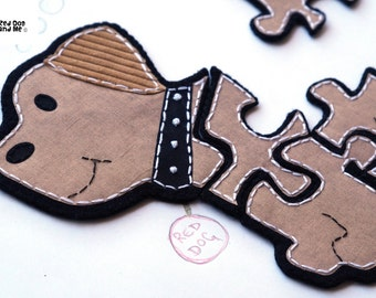 Dog 5 piece Jigsaw Puzzle Easy Hand Sewing PDF Toy Pattern Soft Felt Animal Toy