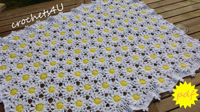 Crochet Daisy Flower Blanket Pattern : crochet pattern flower afghan crochet blanket pattern baby