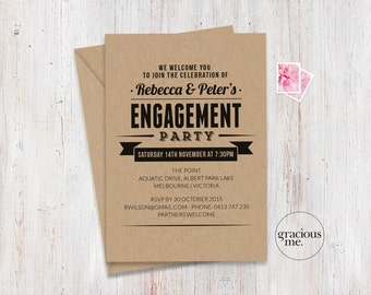 Engagement Invitation, Custom, Made to Order, Engagement Party Invitation