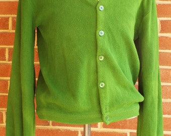 Vintage Green Cardigan Sweater by Waldorf Sportswear