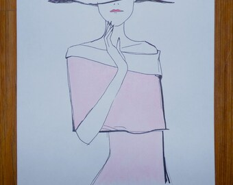 Chic Fashion Watercolor Drawing
