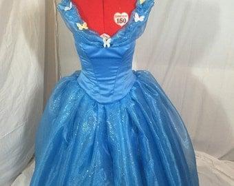 Custom made Cinderella 2015 Blue Ballgown
